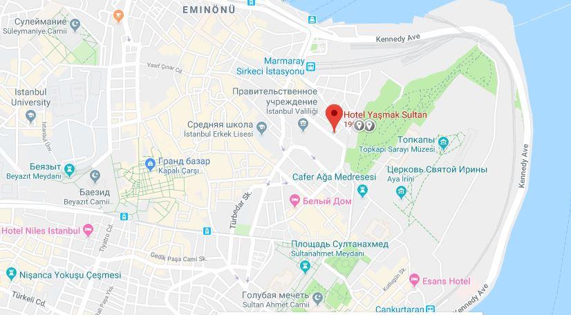 Yasmak Sultan на карте Стамбула
