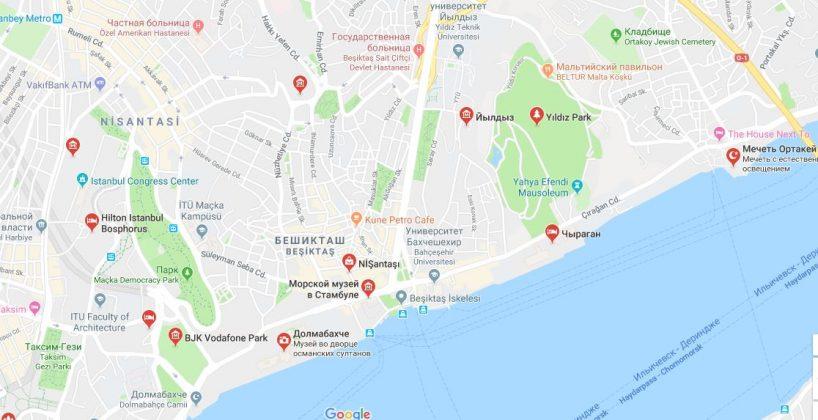 Достопримечательности Бешикташа на карте Стамбула