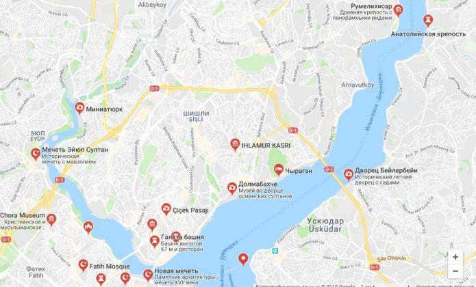 Достопримечательности Стамбула на карте Google
