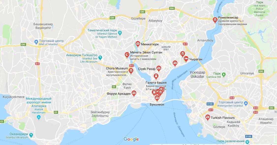 Karta Stambula S Dostoprimechatelnostyami Na Russkom Skachat Turisticheskuyu Kartu