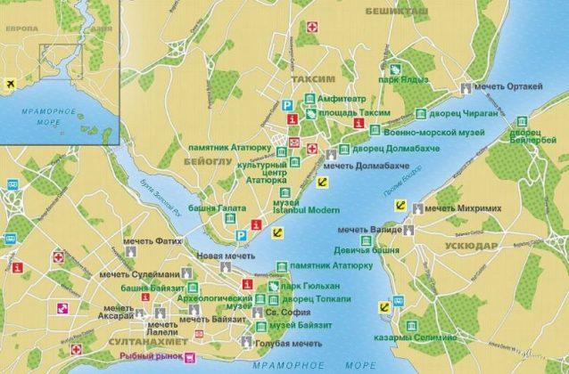 Туристическая карта Стамбула - достопримечательности