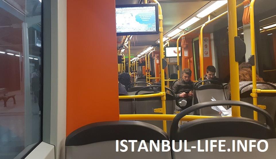 Вагон метро Стамбула внутри
