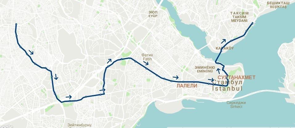 Маршрут трамвая Т1 в Стамбуле