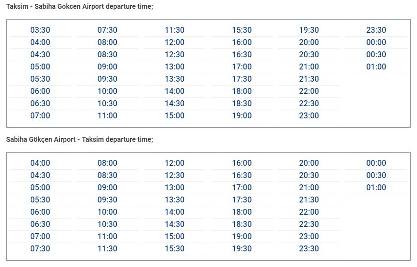 Таксим-Сабиха Гекчен расписание автобусов