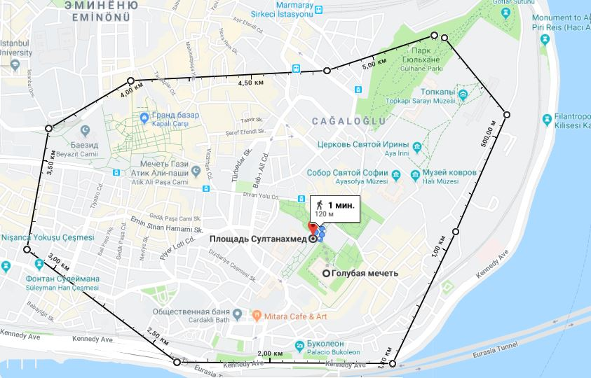Район Султанахмет на карте