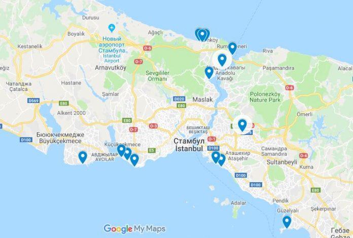 Пляжи Стамбула на карте