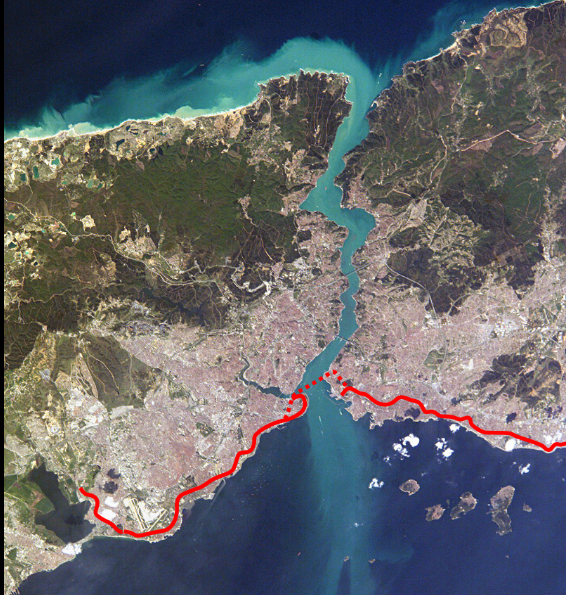 Линия тоннеля Мармарай через Босфор