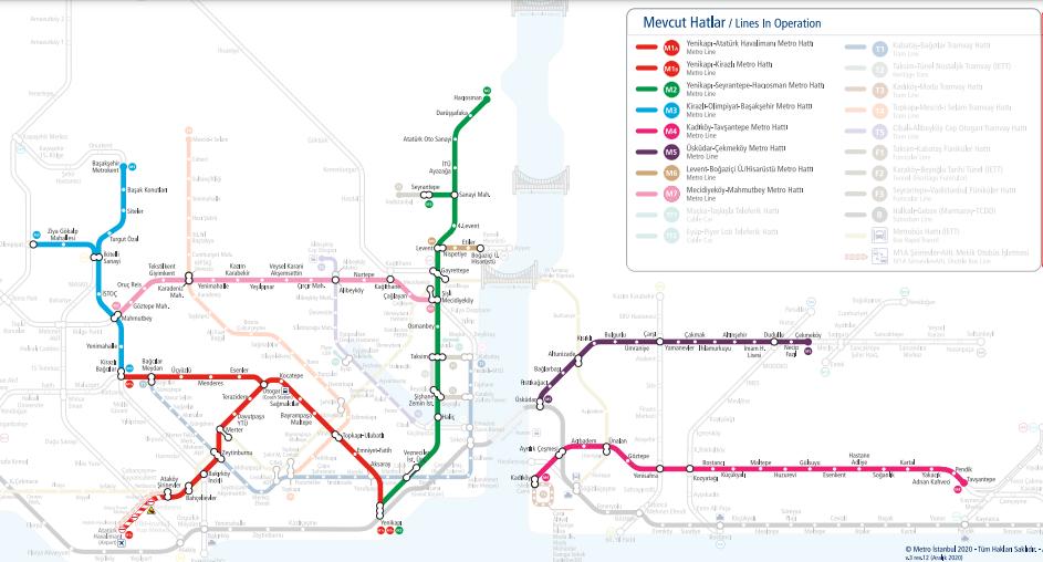 Схема метро Стамбул