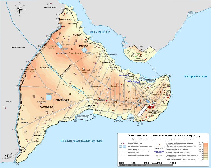 Константинополь при Византии карта